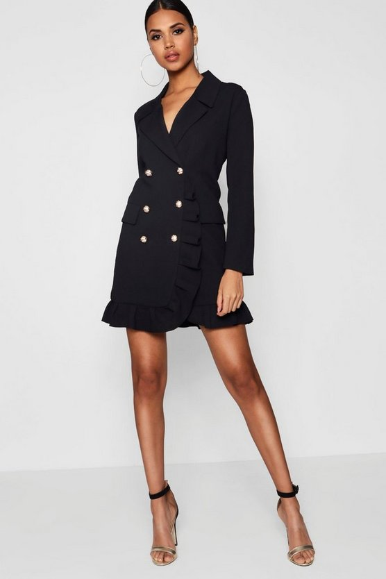 Womens Black Ruffle Double Breasted Blazer Dress