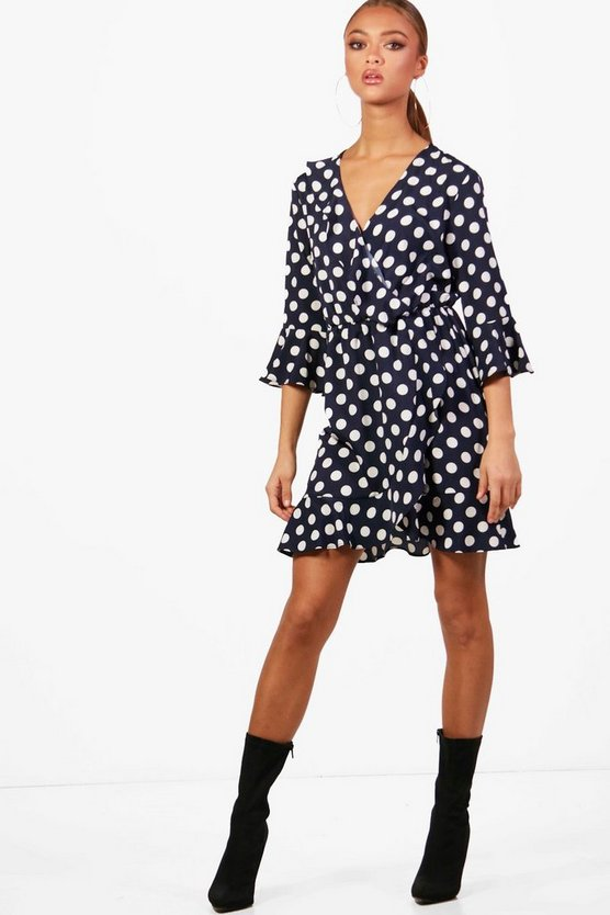 Woven Big Spot Wrap Dress