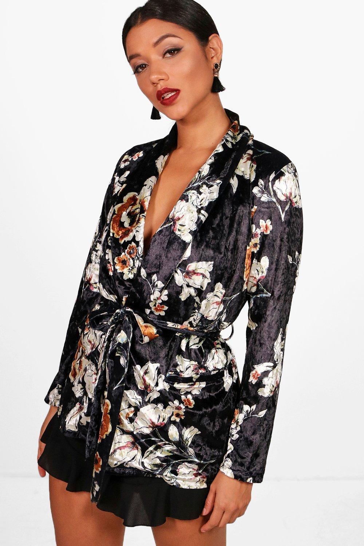 Printed Velvet Belted Blazer