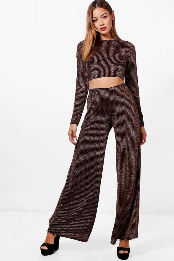 Metallic Rib Knit Wide Leg Set