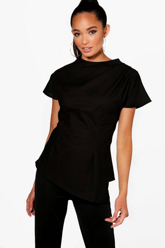 High Neck Twist Front Top