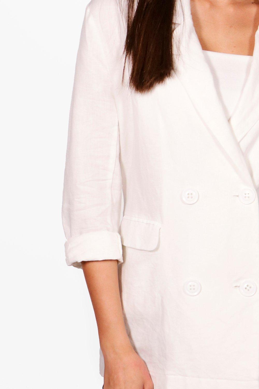 NEW-Boohoo-Womens-Daisy-Double-Breasted-Linen-Blazer-in-cotton-55-linen