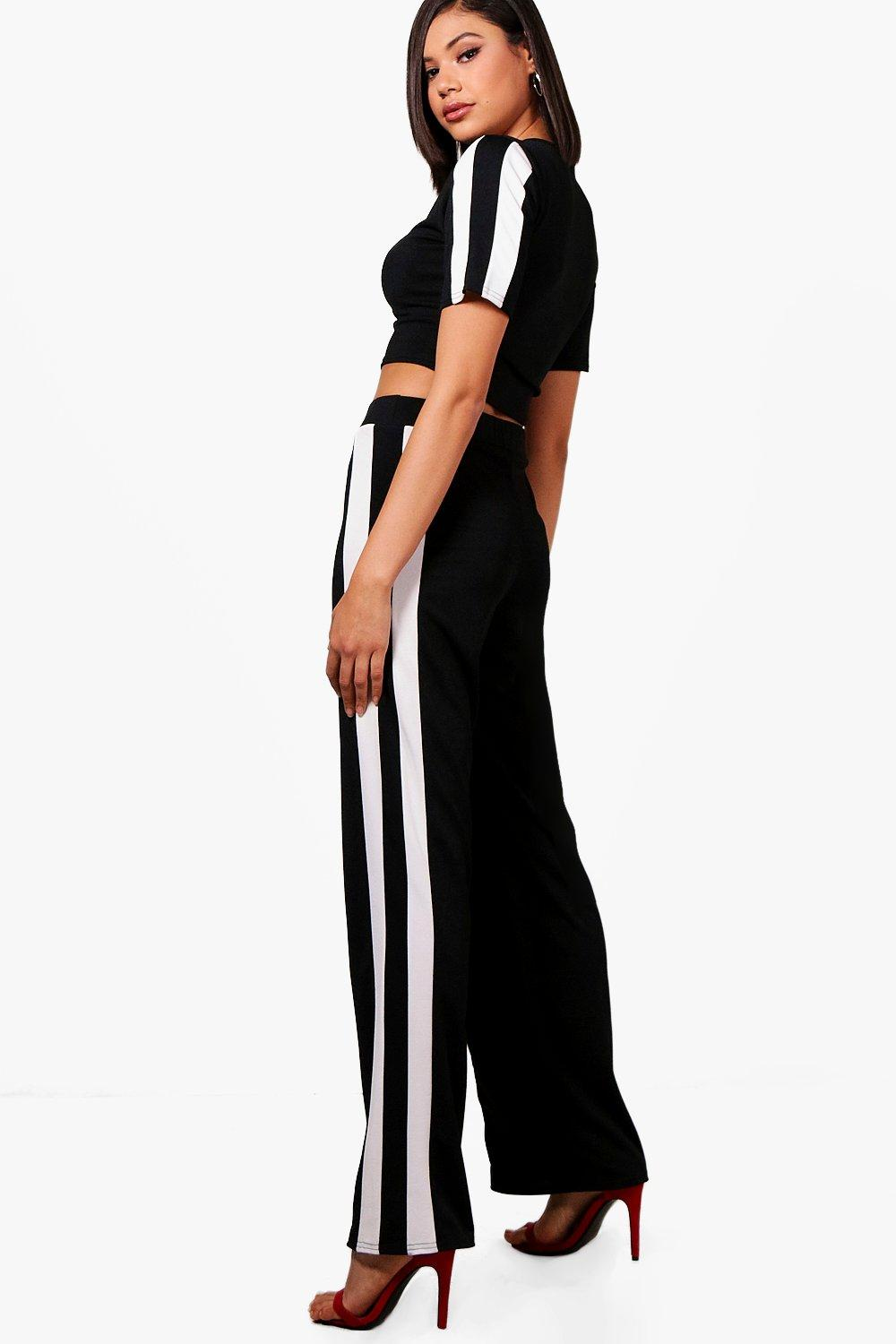 black Trouser Sports Stripe ord Co Wide Leg 0xqFHOn4q
