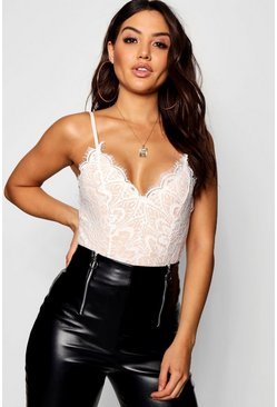 Eyelash Lace Bodysuit, White, Donna