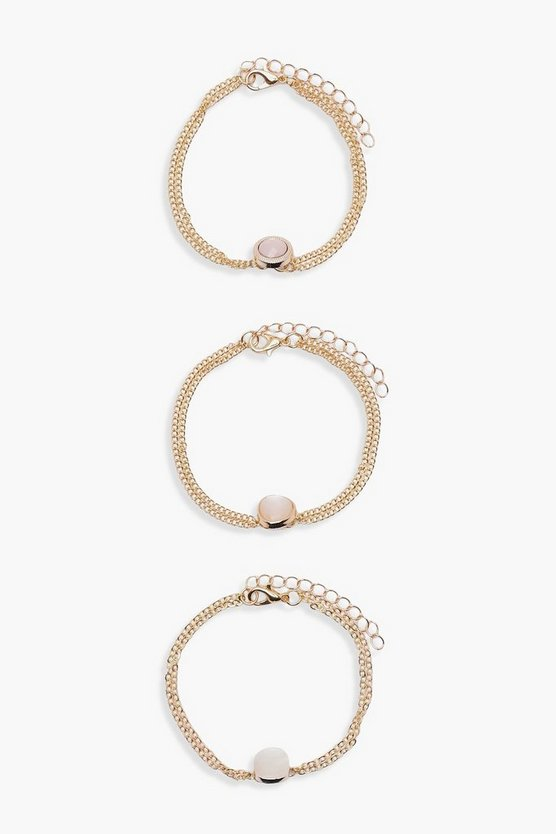 Alex Gem Stone Chain Bracelet 3 Pack