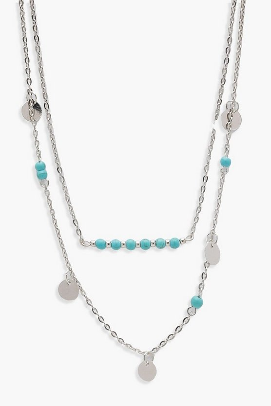 Layered Coin & Turquoise Bead Necklace