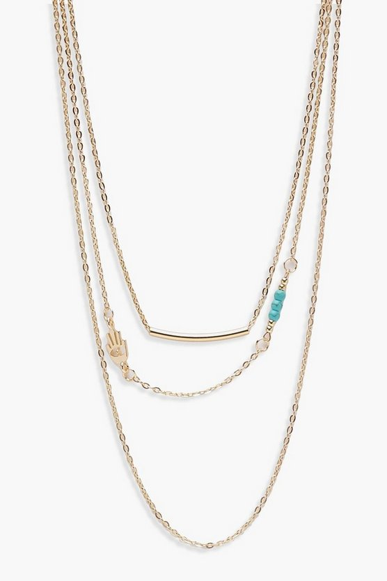 Layered Bar & Turquoise Bead Necklace, Gold, DAMEN