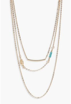 Womens Gold Layered Bar & Turquoise Bead Necklace