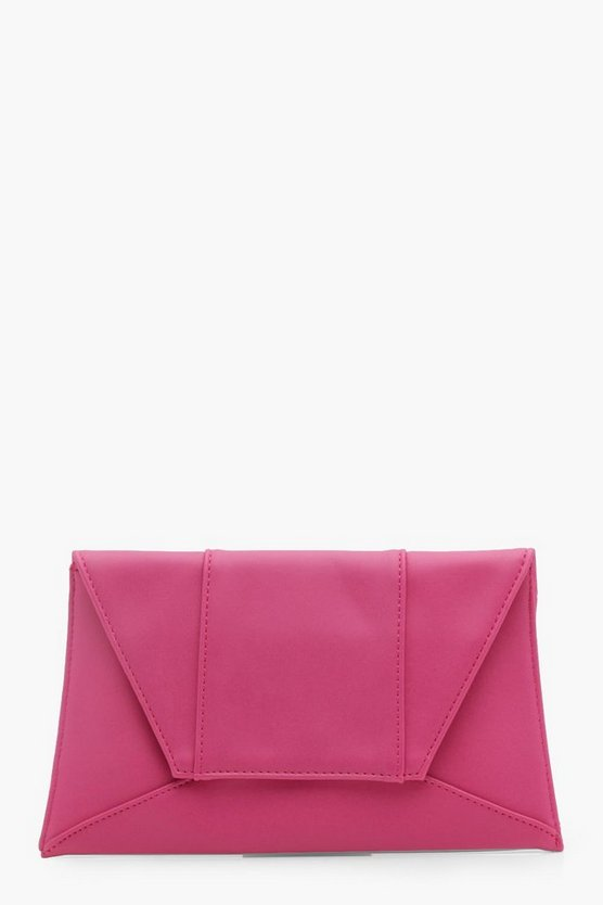 Womens Pink Panelled Envelope Clutch