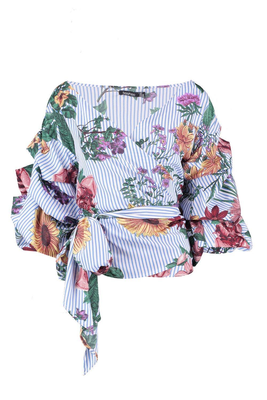 Floral Front blue Stripe Wrap Blouse 1xY1rRPq