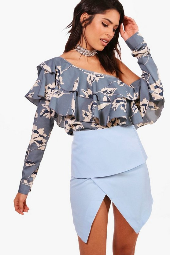 Large Floral Ruffle One Shoulder Woven Top