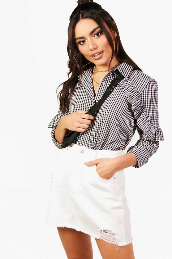 Ruffle Detail Gingham Shirt