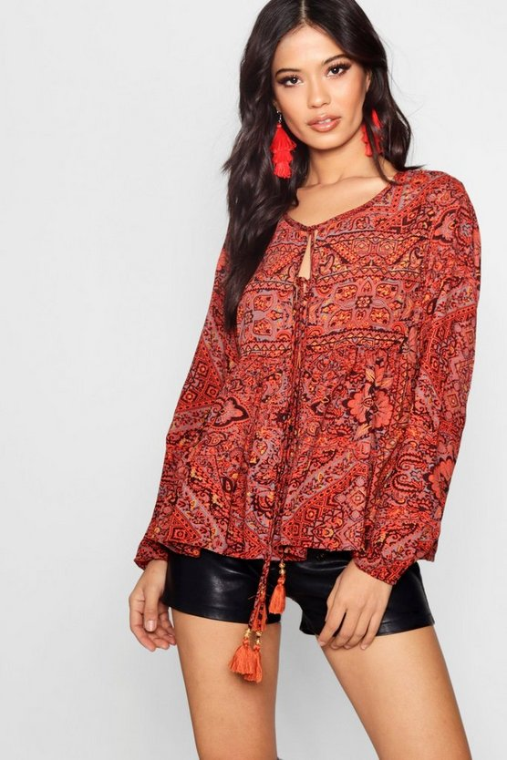 Womens Tan Woven Printed Blouse