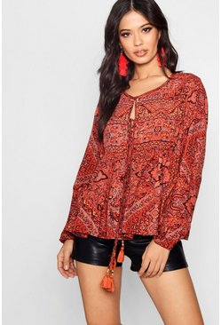Woven Printed Blouse, Tan, FEMMES
