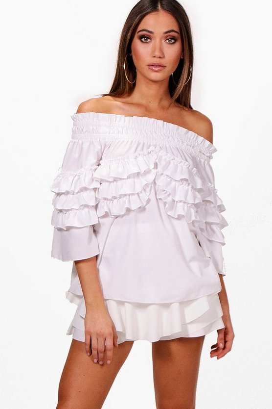 Woven Micro Ruffle Off The Shoulder Top