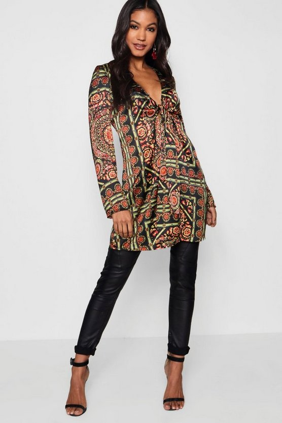 Scarf Print Tie Front Shirt