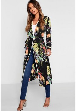 Dark Tropical Floral Belted Kimono, Black, Donna