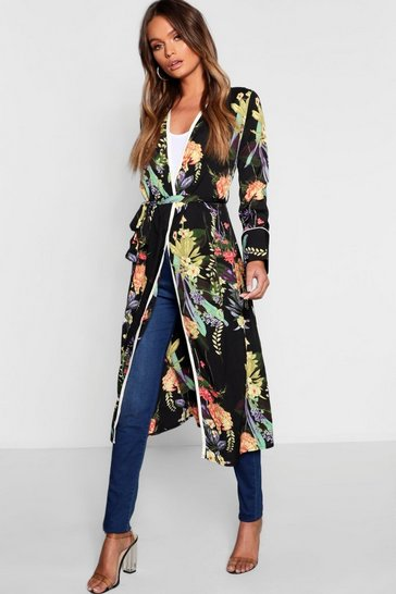 Womens Black Dark Tropical Floral Belted Kimono