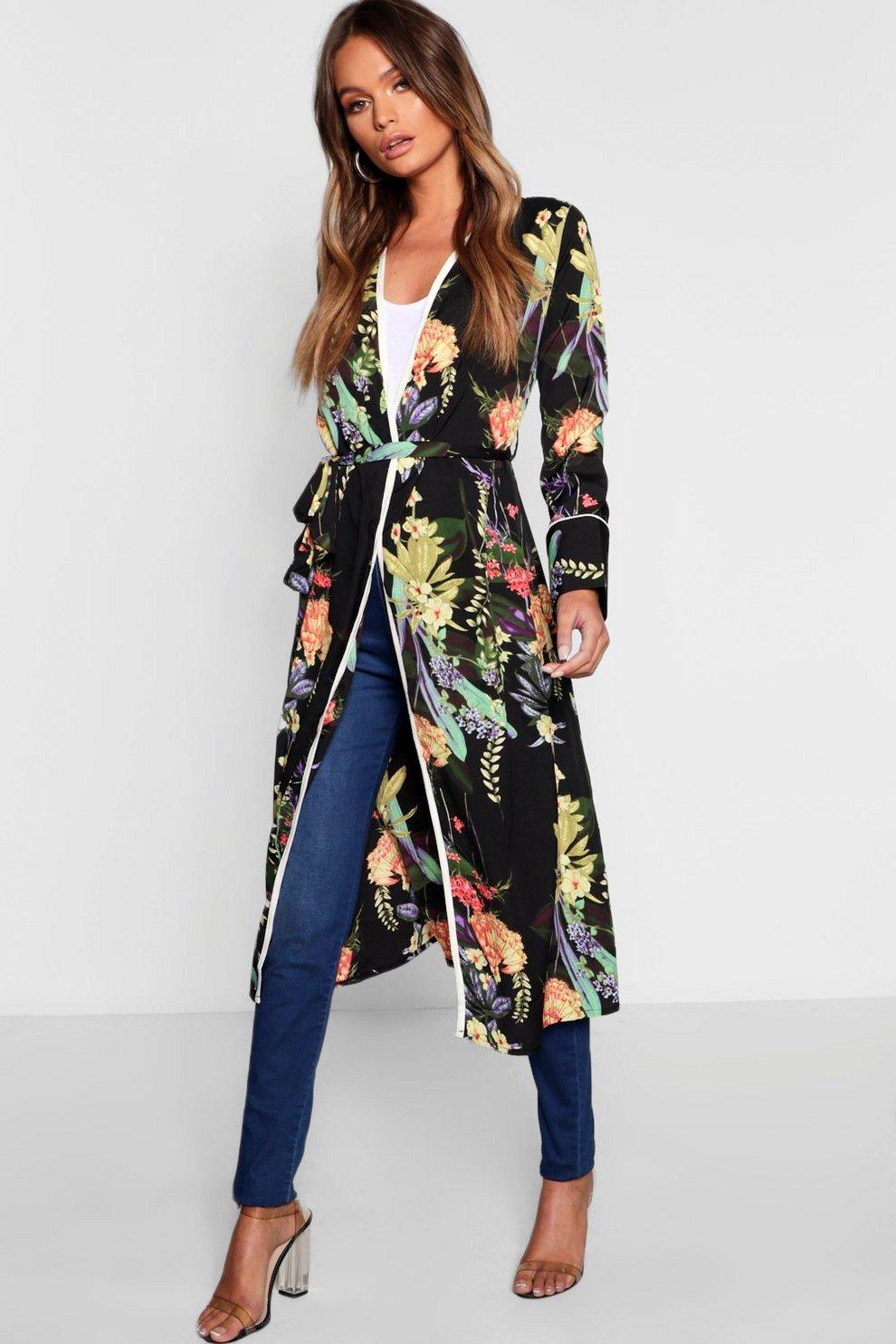 607aad9ad0 Dark Tropical Floral Belted Kimono | Boohoo