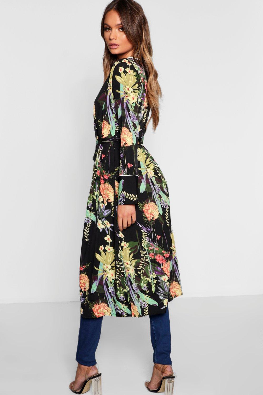 Floral black Dark Dark Belted Floral Kimono q6TwBOg0