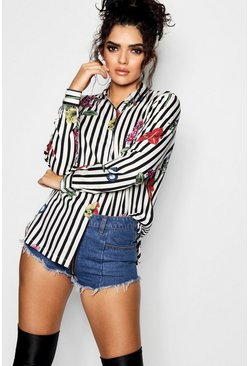 Womens White Striped Floral Woven Shirt