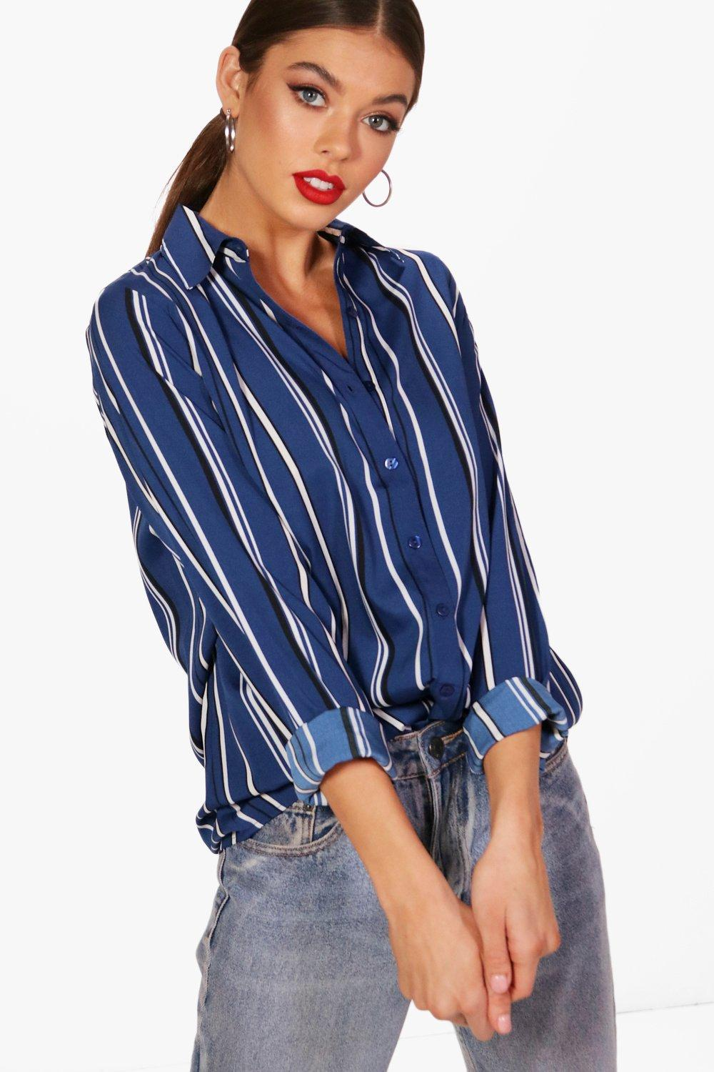 b1f7b72c3cc1 Womens Blue Oversized Stripe Shirt. Hover to zoom