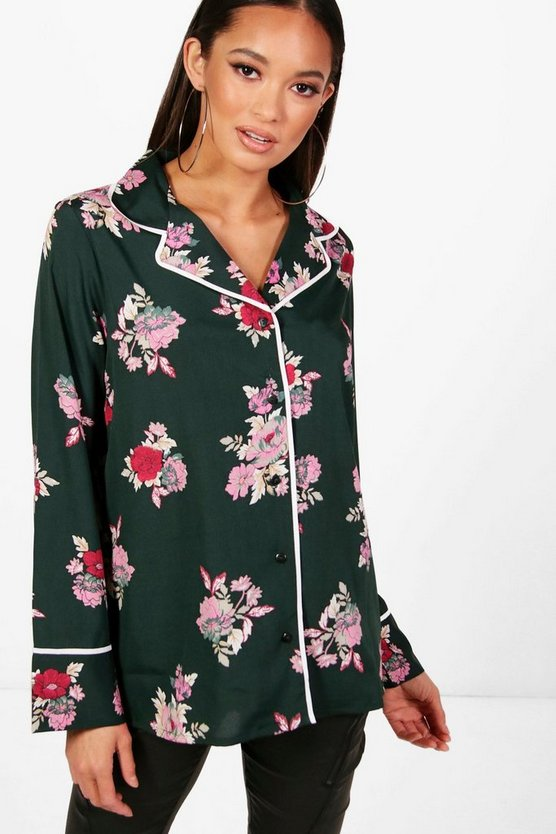Paige Floral Piped Oversized Shirt