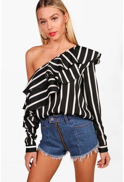 Stripe Ruffle One Shoulder Woven Blouse, Black, Donna