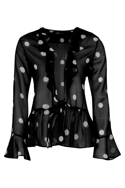 Spot Eva Woven Top Front black Ruffle 87qRB1d7w
