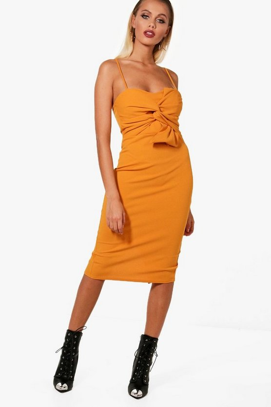 Natalia Strappy Bow Front Midi Dress