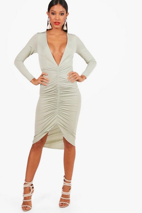 Plunge Neck Ruched Front Bodycon Dress