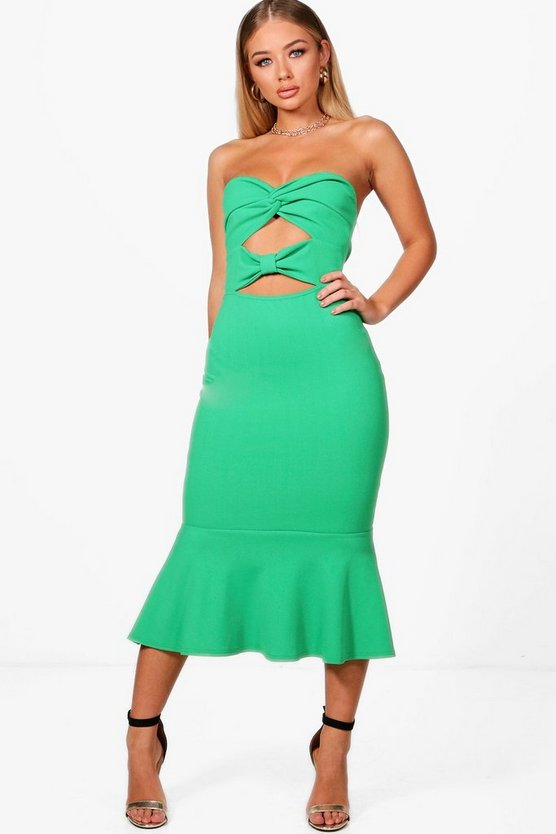Twist Bandeau Midi Dress