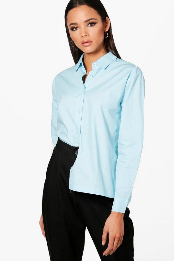 Womens Blue Poplin Tailored Shirt