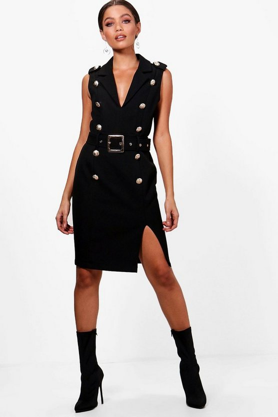 Premium Belted Military Blazer Dress