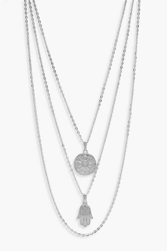 Layered Horoscope & Hamsa Hand Necklace