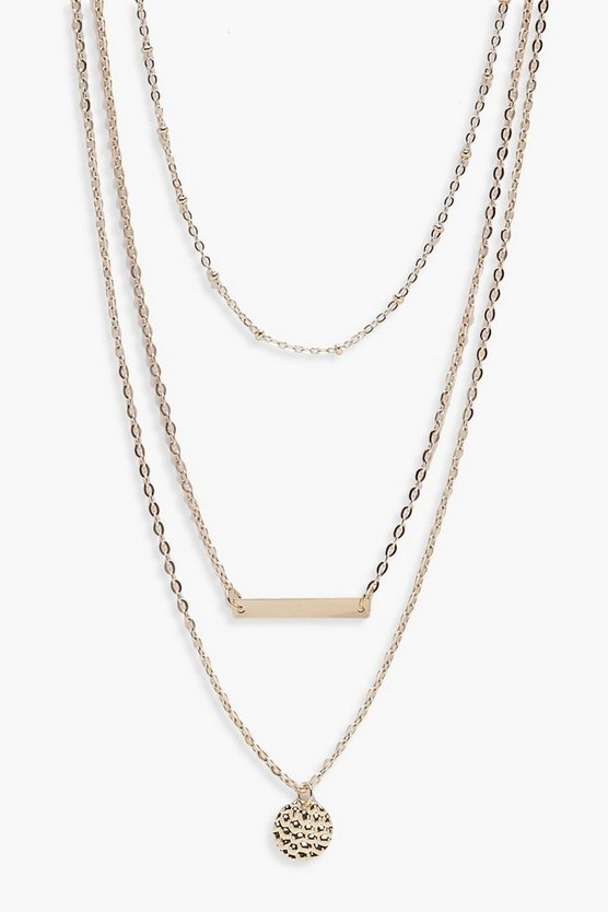 Womens Gold Layered Coin And Bar Necklace