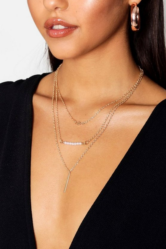 Gold Faux Pearl Bead And Bar Layered Necklace