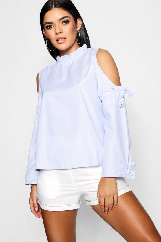 Cold Shoulder Tie Sleeve Blouse