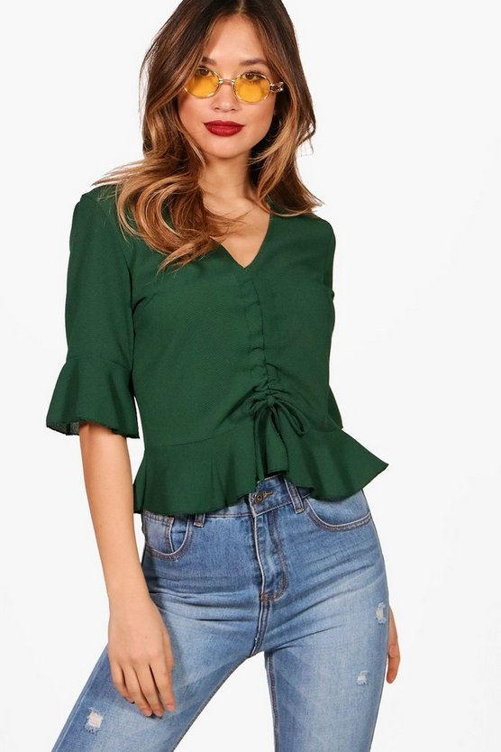 Womens Emerald Ruched Front Ruffle Sleeve Top