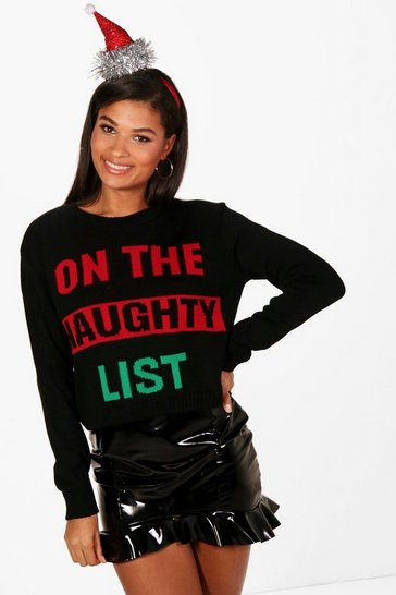 Womens Black Naughty List Crop Christmas Jumper