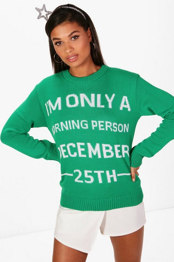 Womens Green Emma December 25th Christmas Jumper