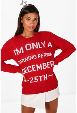Womens Red Emma December 25th Christmas Jumper