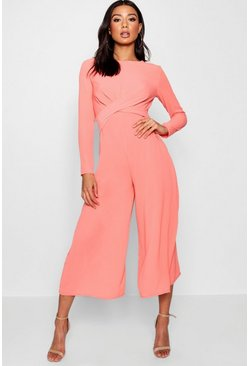 Womens Coral Knot Front Culotte Jumpsuit