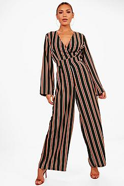 Vintage High Waisted Trousers, Sailor Pants, Jeans Verena Stripe Wrap Front Wide Leg Jumpsuit $40.00 AT vintagedancer.com