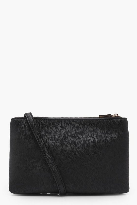 Womens Black Double Zip Cross Body Bag