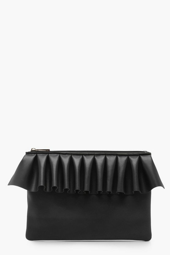 Frilled Ziptop Clutch