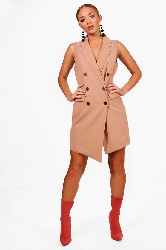 Asymmetric Hem Sleeveless Blazer Dress