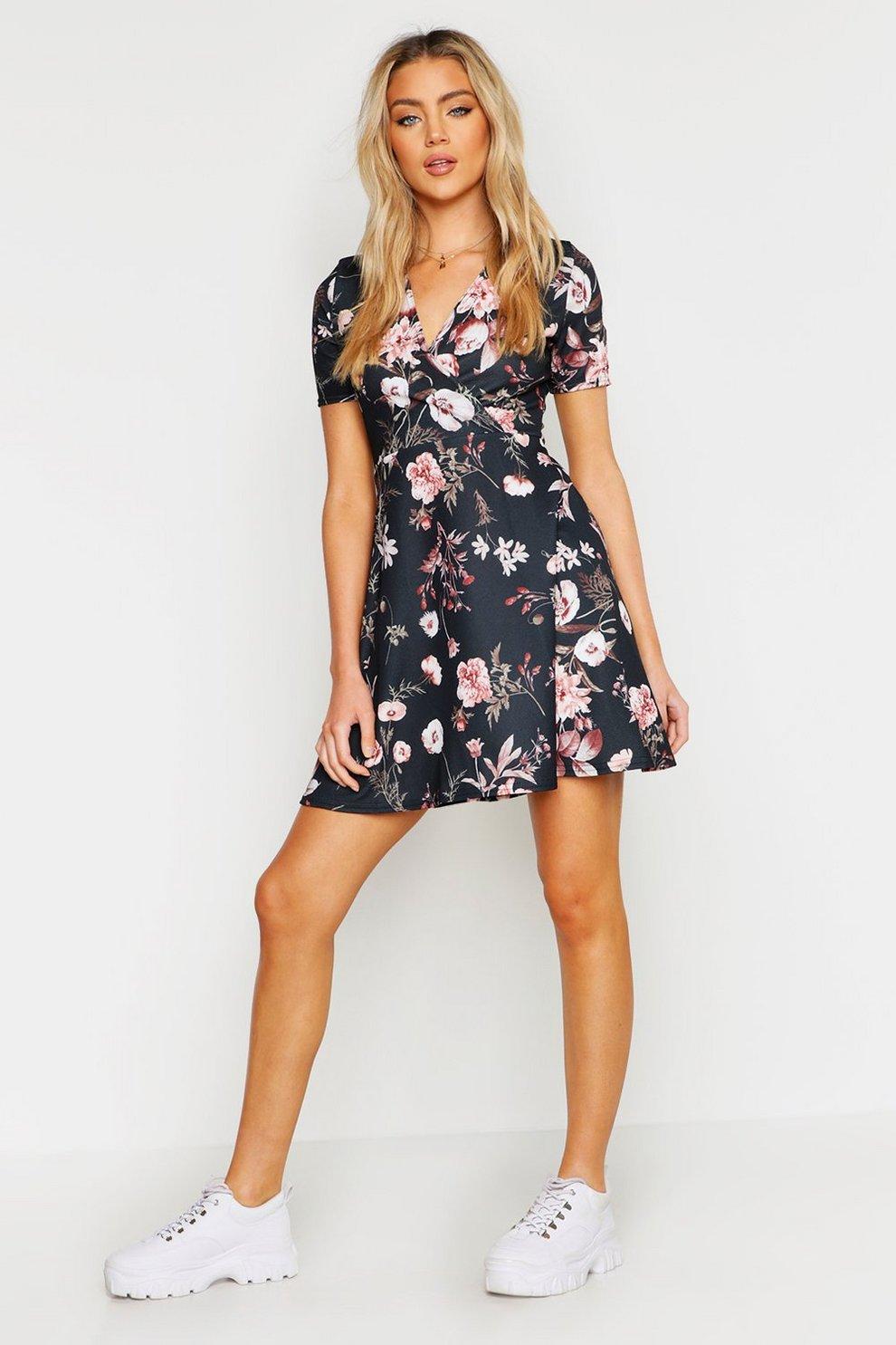 6e78e2497a Wrap Floral Skater Dress