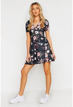 Womens Black Wrap Floral Skater Dress