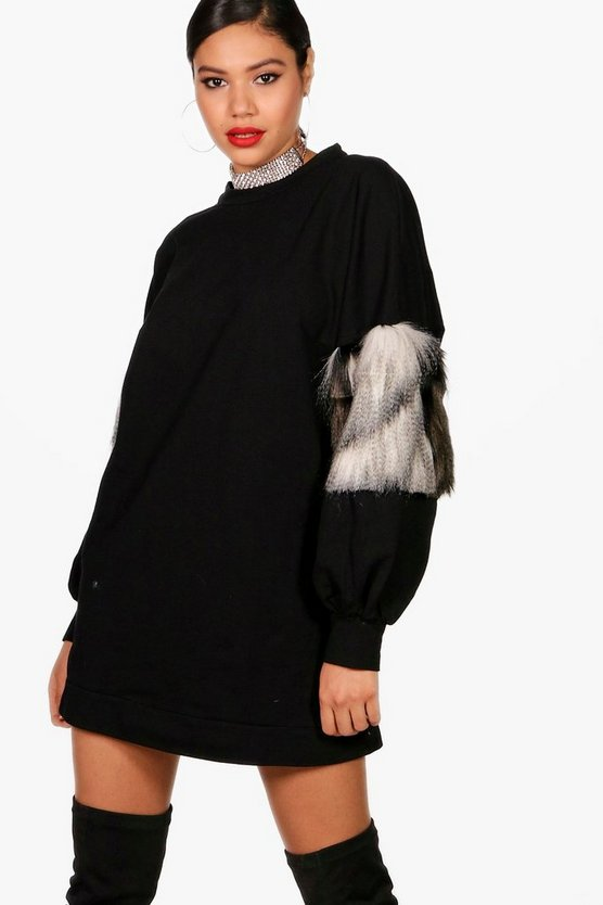 Kelly Faux Fur Sleeve Detail Sweat Dress